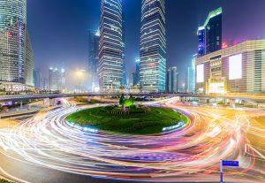 Cikliškas judėjimas Šanchajaus centre. Aut. Getty Images.